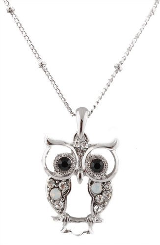 Silvertone with Clear & Black Iced Out Vintage Owl Pendant with a 17 Inch Adjustable Link Necklace