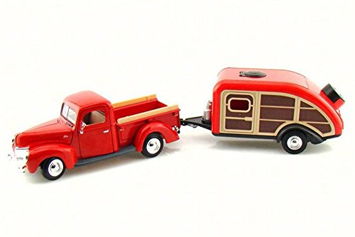 1940 Ford Pick Up Truck w/ Teardrop Trailer, Red - Motor Max 73234/083 - 1/24 Scale Diecast Model Replica - 1940 Ford Truck