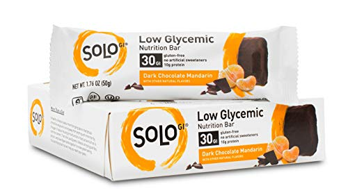 (SoLo Gi Dark Chocolate Mandarin Energy Bar - Gluten Free, Low Glycemic with 12 grams of Protein, 1.76oz (50g) (1 Box of 6 Bars))