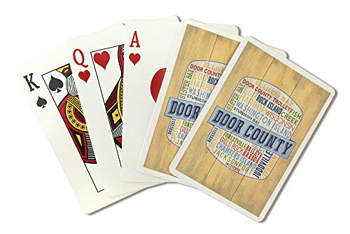 Door County, Wisconsin - Door County Trolley - Rustic Typography - Contour 98341 (Playing Card Deck - 52 Card Poker Size with Jokers)
