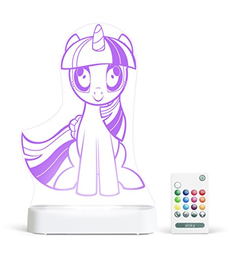 (Aloka My Little Pony Twilight Sparkle Multi-Color LED StarLight, with Remote Control, 8 inch, Color Changing)