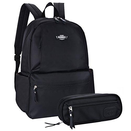 Mochilas Escolares, COOFIT Bolso Mochila Mujer Hombre Negra Mochila Ejecutivo Mochila Ordenador Backpack Negra 1
