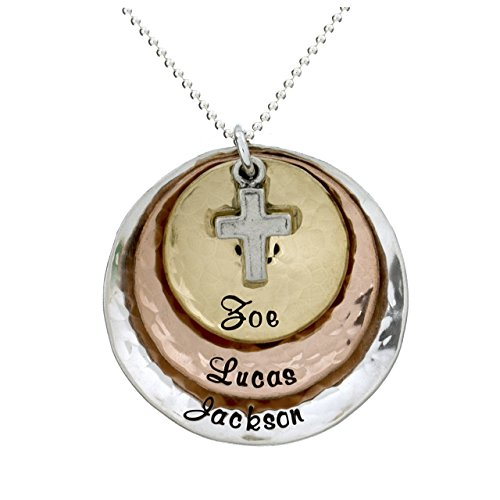 Divine Gift Personalized Necklace with Customizable Sterling Silver, 14k Gold, and Rose Gold Plated Charms. Includes Sterling Silver Cross Charm. Choice of Sterling Silver Chain. Gifts for Her