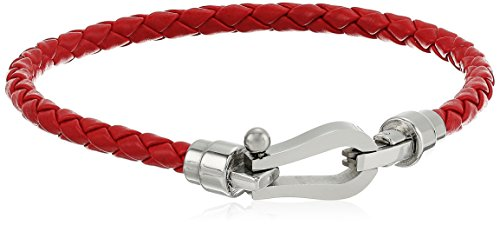 Men's Red Genuine Leather Braided with Stainless Steel Clasp Bracelet, 8.5