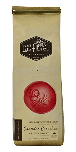 Café Las Flores Grandes Cosechas Medium Roast Ground Coffee Beans 454 GRAMS (1 POUND) 100% Arabica Gourmet Coffee Blend - Nicaragua's Finest Coffee