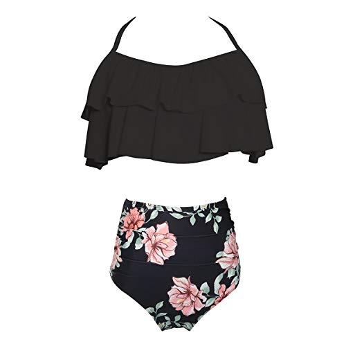 2Pcs Matching Family Swimsuit Ruffle Swimwear Kids Children Toddler Bikini Bathing Suit Beachwear Sets 104 Black Flower 2-3 Years