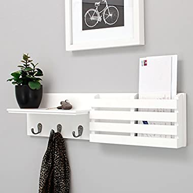 nexxt Sydney Wall Shelf and Mail Holder with 3 Hooks, 24-Inch by 6-Inch, White