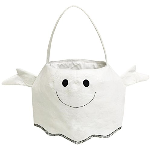Off the Wall Toys White Ghost Trick or Treat Candy Bag for Halloween Party Costumes -