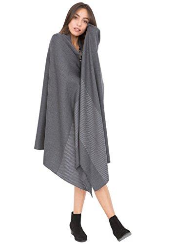 Grande écharpe noir tissé à la main mérinos sergée avec motif rayée 100 X 200cm gris charbon
