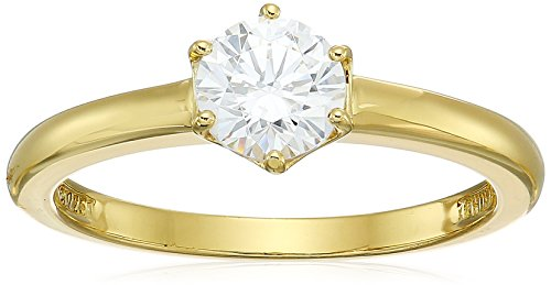 Yellow-Gold-Plated Sterling Silver Swarovski Zirconia Round Solitaire Ring, Size 6