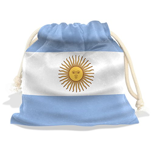 Price comparison product image CoolPrintAll Argentina Flag Velvet Drawstring Gift Bag Wrap Present Pouches Favor for Jewelry,  Coin,  Holiday,  Birthday,  Party,  8X12.6 Inches