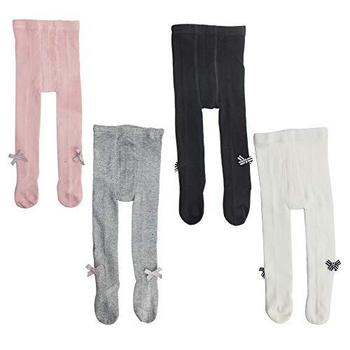 EsTong Baby Girl 4-Pair-Pack Bow-knot Cotton Leggings Pants Infant Toddler Warm Stockings Tights - Legs Leggings Organic Baby