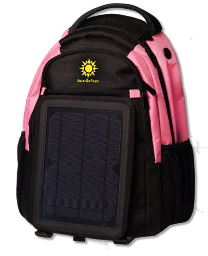 SolarGoPack 12k, solar powered backpack, charge mobile devices, Take Your Power with You, 12,000 mAh Lithium Ion Battery – Stay Charged My Friends !! (Pink) For Sale