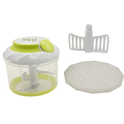 Multipurpose Fruit and Vegetable Processor MOKOQI¨ Powerful Manual Pull Food Chopper with 4-cup Version and the