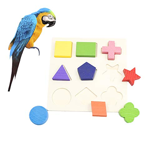 GNB PET Multipurpose Wooden Puzzle Building Block Bird Intelligence Training Toy for Parrot Macaw African Greys Budgies, Colorful Wood Puzzles Box Intelligence Educational Gift for -