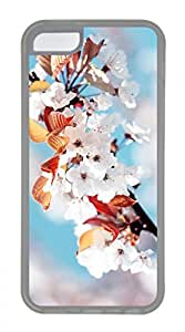 iPhone 5c case, Cute White Cherry Blossoms iPhone 5c Cover, iPhone 5c Cases, Soft Clear iPhone 5c Covers