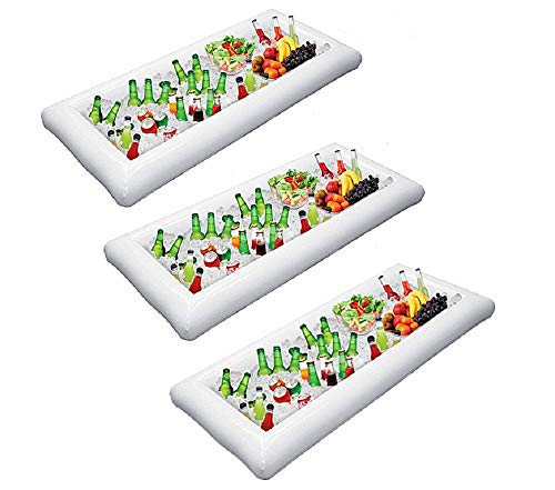MGparty Inflatable Serving/Salad Bar Tray Food Drink Holder with Drain Plug for Pool Parties, BBQ,Tailgates and More (Pack of 3)]()