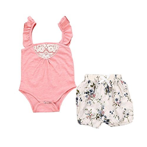 Nevera Toddler Baby Girls 2PCS Outfit Ruffle Sleeve Romper+Floral Short Pants Clothes Set (0/6M, (Online Boutiques For Babies)