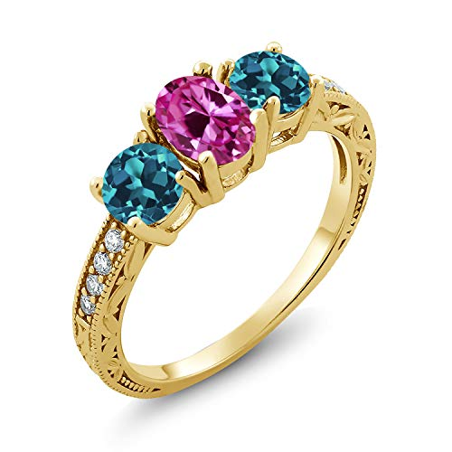 2.32 Ct Pink Created Sapphire London Blue Topaz 18K Yellow Gold Plated Silver Ring (Size 6)
