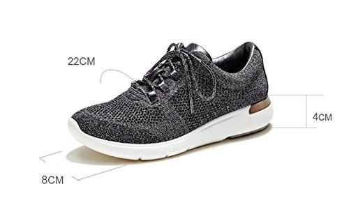xie Chaussures à Lacets à Fond Plat Espadrilles Décontractées Grande Taille Chaussures de Course à Pied Fashion Printemps Automne Chaussures pour Femmes 35-40 dark gray QCelYwZcxM