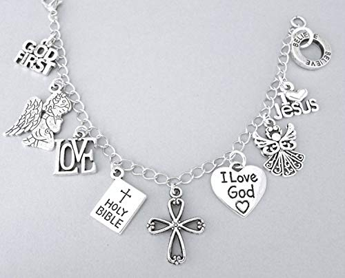 (Christianity charm bracelet with God First, angels, Holy Bible, cross, I Love Jesus, Believe)