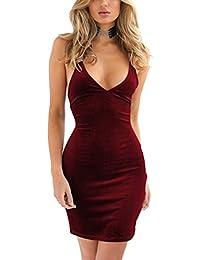 Womens Spaghetti Strap Bodycon Sleeveless Backless Velvet...