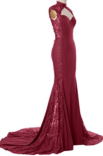 Mermaid Neck Prom Dress Evening Gown High Long Jersey Weinrot Women Lace Formal MACloth 56FwqAn