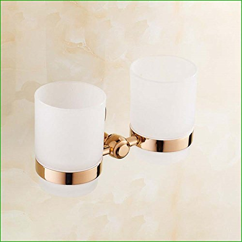 LHbox Tap Copper Rose Gold Bathroom Wall-Pack Towels, Toilet Paper Holder Towel Bar Double Cup Soap E-Coat Hook