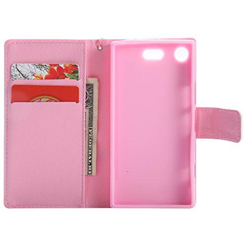 pour en Compact Xperia Compact XZ1 4 Anti XZ1 Housse Coque avec Cuir Sony Portefeuille Lomogo Sony Aimant Porte Xperia Protection Carte LOKTU21110 Choc Etui 3 par Fermeture Rabat de wIq41Yn