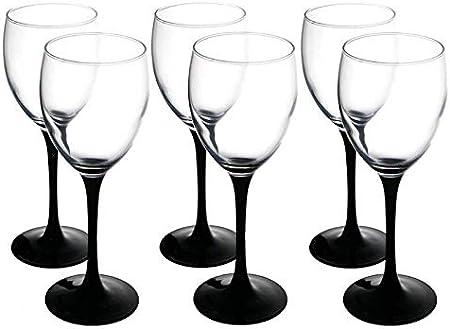 Verre transparent moderne Lot de 6 verres à vin blanc Noir 250 ml longue tige