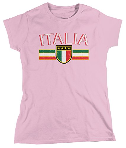 (Amdesco Women's Italia Flag and Shield, Italy Italian Pride T-Shirt, Light Pink Small)