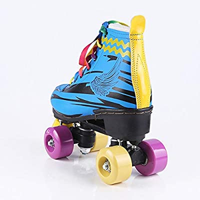 Quad Roller Shoes for Kids and Adults Indoor Childrens Skate Premium Leather Lined Rink Outdoor Sports Shoes : Sports & Outdoors