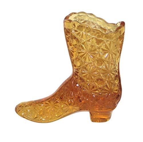 Fenton Art Glass Vintage Amber Daisy & Buttons Boot Shoe 4 1/4 x 4 1/2 Inch Decorative Figurine