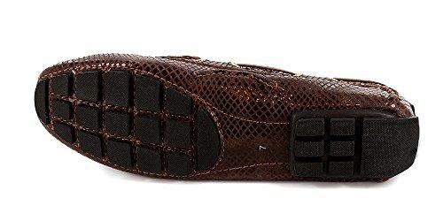 Echtes Leder der Frauen hergestellt in Brasilien-beiläufigen Cypress-Hügel-Fahrer Marc Joseph NY Fashion Shoes Mocha Gold Schlange