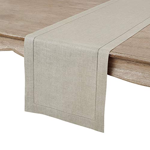 - Solino Home Hemstitch Linen Table Runner - 14 x 90 Inch, Handcrafted from European Flax, Machine Washable Classic Hemstitch - Natural