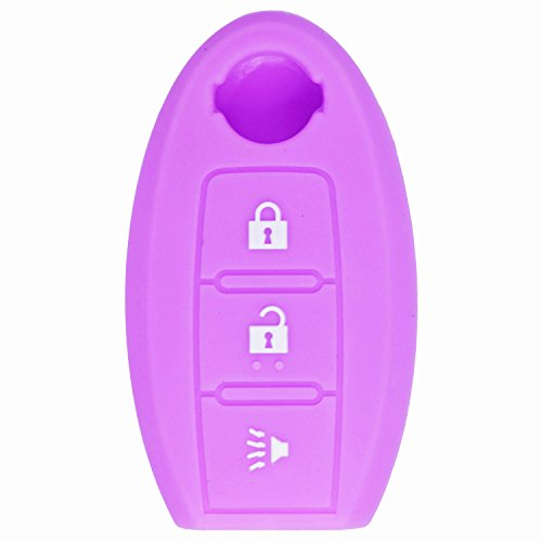 (qualitykeylessplus Purple Rubber Case Silicone Protective Cover for Nissan Remotes with Free KEYTAG)