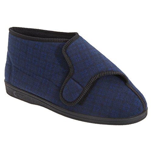Comfylux Herren Gerry Hausschuhe/Pantoffeln mit Klettverschluss, Besonders Weit Marineblau
