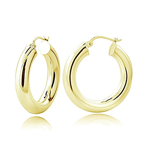 Hoops & Loops Flash Plated Gold Sterling Silver 5mm High Polished Round Hoop Earrings, 20mm