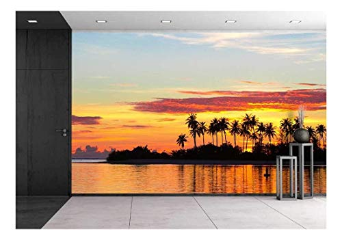 (wall26 - Sunset at The Seaside with Dark Silhouettes of Palm Trees and Amazing Cloudy Sky - Removable Wall Mural | Self-Adhesive Large Wallpaper - 66x96 inches)