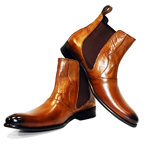 Italian Handmade Brown Leather Boots - PeppeShoes Modello Stibleto - 7 US - Handmade Italian Mens Color Brown Ankle Chelsea Boots - Cowhide Smooth Leather - Slip-On