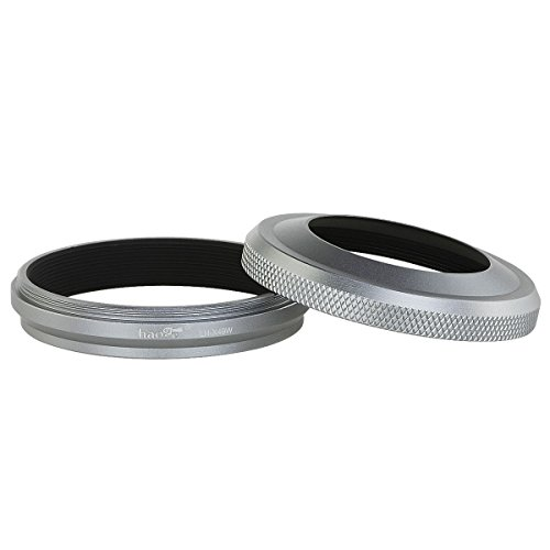 Haoge LH-X49W 2in1 All Metal Ultra-thin Lens Hood with Adapter Ring Set for Fuji Fujifilm FinePix X70 X100 X100S X100T X100F (Fuji Lens Filter)