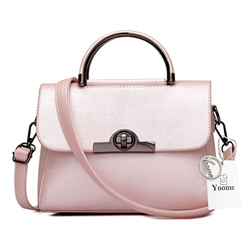 Yoome Elegant Bags For Girls Lichee Patern Top Handle Bag Stylish Vegan Leather Handbags For Women - Burgundy Pink