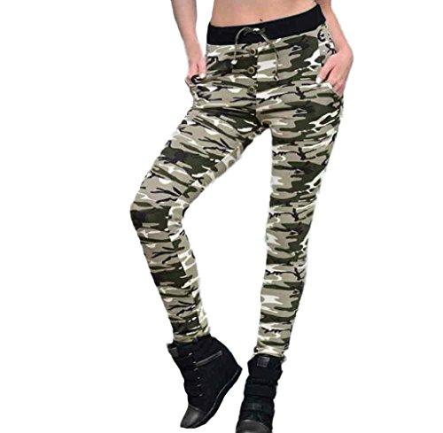 Tongshi Fitness polainas camuflaje mujer elastizada Yoga gimnasio de deportes pantalones Verde