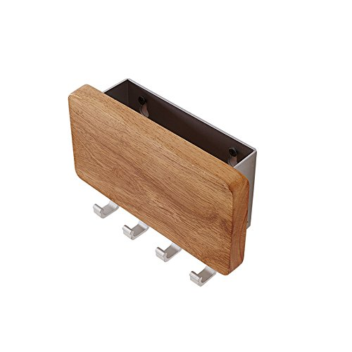 Uniko Vida UNÍMURO Decorative Wood Aluminum Key Holder Mail Holder Key chain rack 4 Hooks Screw-On OR Screw-Free Wall Mounted Hanger, For Offices, Foyer, Hallway, Entryway, Beech Wood/Brushed Finish
