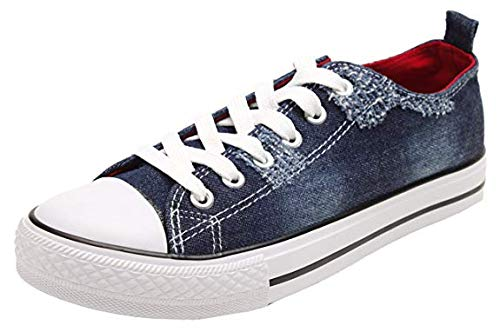 PepStep Canvas Sneakers for Women/Light Blue/Navy/Black Casual Shoes Low Top Lace up Fashion Sneakers]()