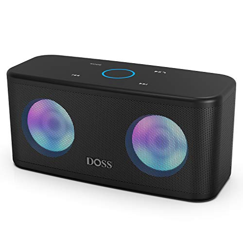 DOSS SoundBox Plus Portable Wireless Bluetooth Speaker with HD Sound and Deep Bass, Wireless Stereo Paring, Built-in Mic, 20H Playtime, Wireless Speaker for Phone, Tablet, TV and More.-Black (Best Speakers For Music)