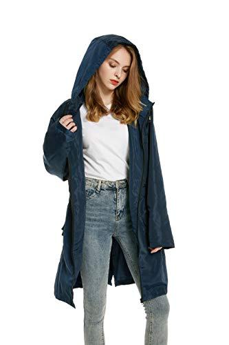 Parka Azul Impermeable Seco Impermeable Chaqueta con Rompevientos Ajustable Rápido Abrigo Larga Mujer Mujer Chaqueta Capucha Manga Ligera 81wxwpaq