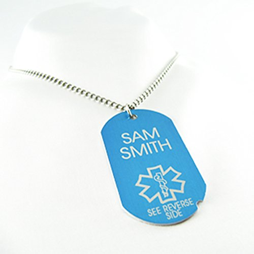 MyIDDr - Pre-Engraved & Customized Diabetic Blue Aluminum Medical ID Dog Tag - 27in/68.6cm - Free Wallet Card Incld, Made in USA