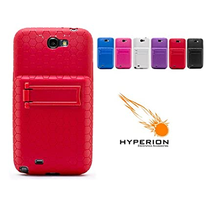 new styles e57ae a4506 Hyperion Samsung Galaxy Note II Extended Battery HoneyComb Kickstand TPU  Case Red