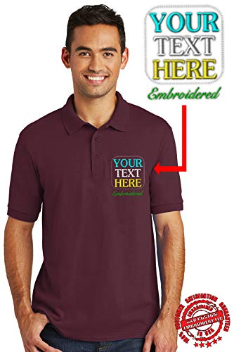 Custom Embroidered Polo Shirts. Jerzees - SpotShield and Port & Company Core Blend Pique Polo (XL, Athletic Maroon)